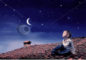 stock-photo-child-sitting-on-a-rooftop-and-looking-at-the-moon-50973322